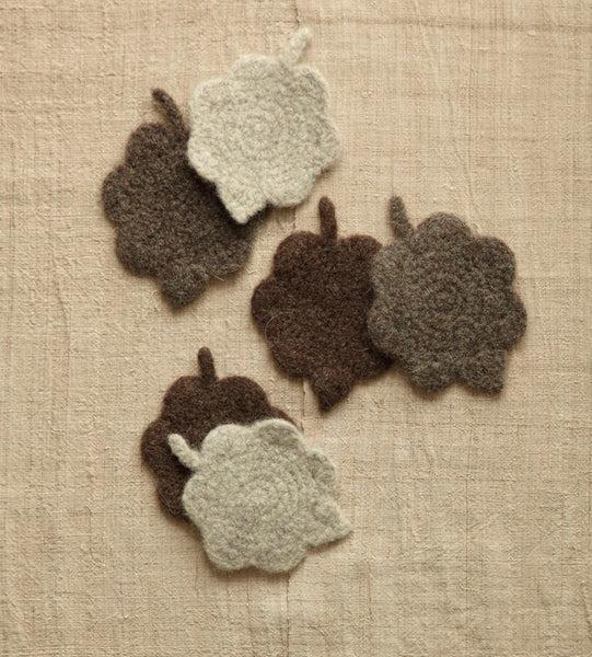 Felted Leaf Coasters Pattern (Crochet)
