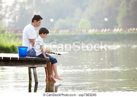 Stock Images of Family fishing - Man and boy fishing on the lake csp7363245 - Search Stock Photos, Pictures, Photographs, and Photo Clipart