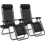 Best Choice Products Zero Gravity Chair with Cup Holder, Black - 2 count
