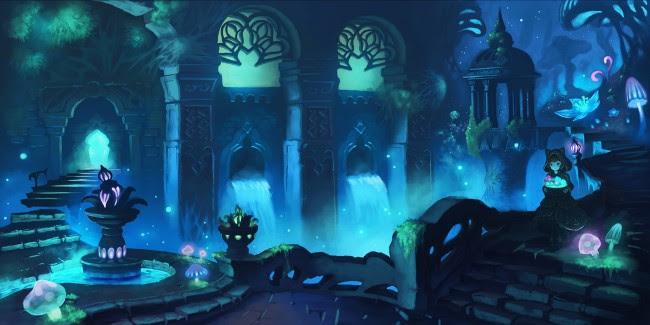 Wallpaper Anime Underground World, Waterfall, Anime Girl ...