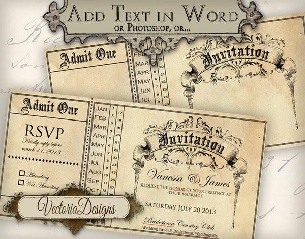 Printable Invitation Ticket editable 6 x 3 inch by VectoriaDesigns