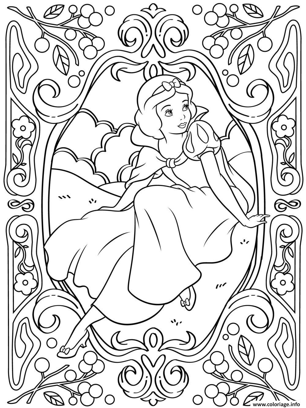 Coloriage Mandala Disney Princesse Blanche Neige Dessin  Imprimer