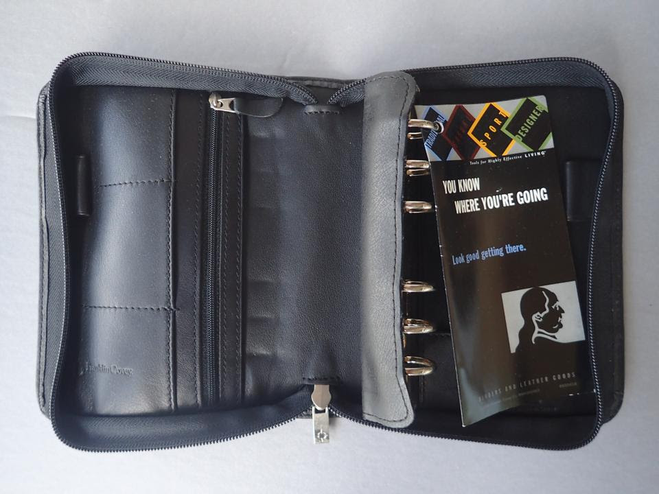 Franklin Covey 6-Ring Day Planner/Organizer Binder Black Leather ...