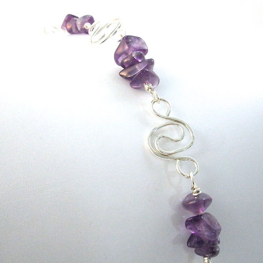 Amethyst Bracelet with Argentium Sterling Silver Spiral Chain