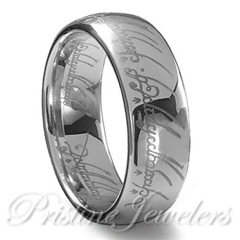 Lord of the Elvish Rings Silver Tungsten Promise One Ring