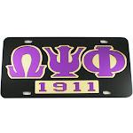 Omega Psi Phi 1911 Mirror Insert Car Tag License Plate [Black - Car/Truck]