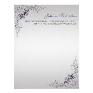 #3 Ornate Purple Silver Floral Swirls Letterhead