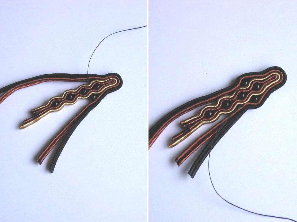 Anneta Valious. Bracelet made from soutache and beads Step 11