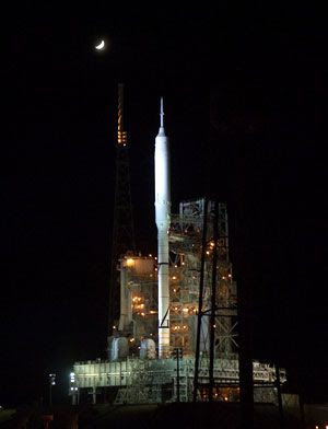 The Moon shines above the ARES I-X rocket at Launch Complex 39B at NASA's Kennedy Space Center in Florida, on October 23, 2009.