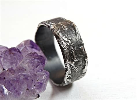 buy  hand crafted unique silver ring molten surface cool