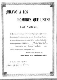 Premio Bravo 1971, otorgado a Manuel Lozano Garrido, Lolo