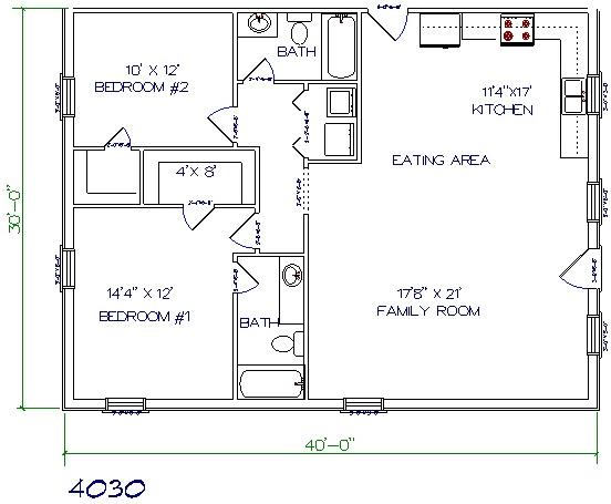 30x40 house floor plans architectural designs for 40x60 shop plans with living quarters