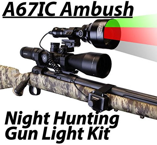 Wicked Lights A67IC Ambush 3-Color-In-1 (Green, Red, White LED) Night Hunting Gun Light Kit With Intensity Control for Coyote, Predator, Varmint & Hogs - outdoorsNsports