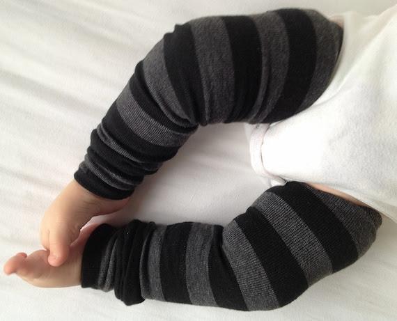 Black Gray Stripe Baby Legs / Leg Warmers