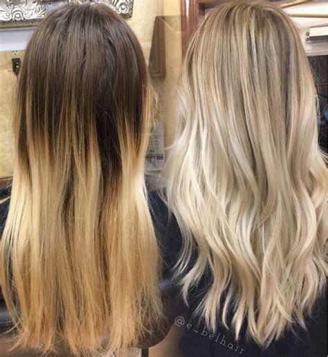 blonde balayage    dyed blonde hair brown
