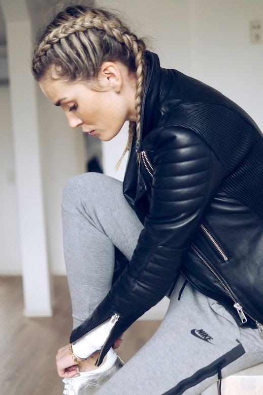 Le Fashion Blog Workout Style Double Braids Leather Jacket Grey Nike Sweatpants White Sneakers Via Camilla Phil