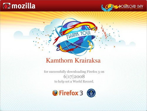 Firefox Download Day 2008 Cert.
