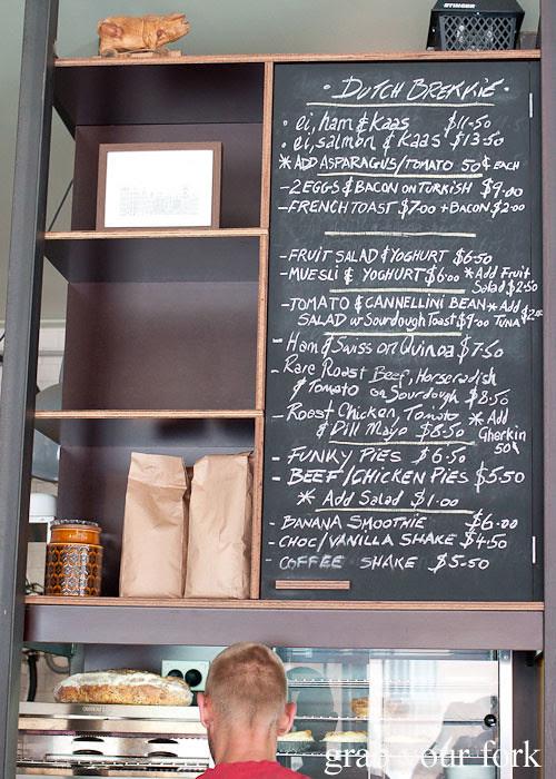 blackboard menu at the town bike pitstop redfern darlington