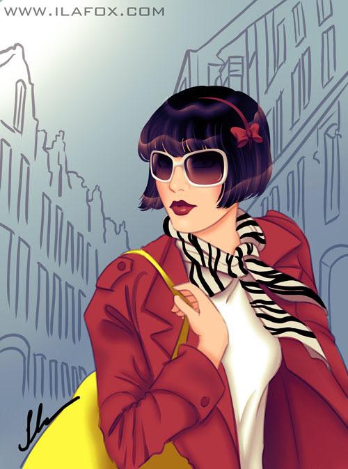 mulher de cabelo curto com lenço de zebra no pescoço e bolsa amarela, ilustração by ila fox