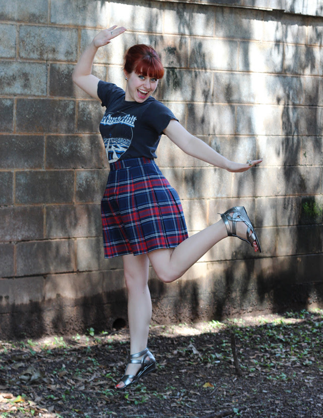 Band T-shirt, Plaid Pleated Skirt, Silver Sandals