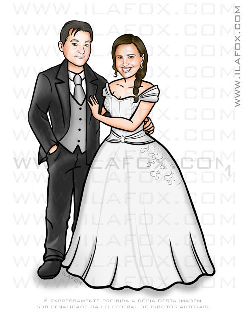 caricatura casal, caricatura bonita, caricatura sem exageros, caricatura para casamento, by ila fox