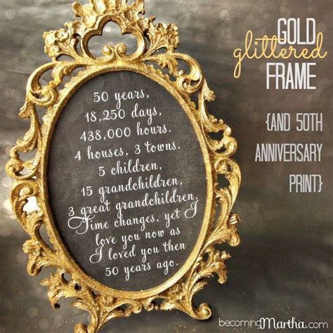 Gold and Glittered Frame and Print   50th Anniversary