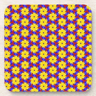 Bright Yellow Pinwheel-like Design on Coaster Set