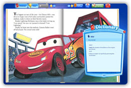 Dictionary feature shown in a Cars digital book