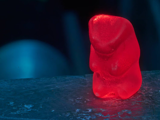 Gummy bears under antiparticle fire