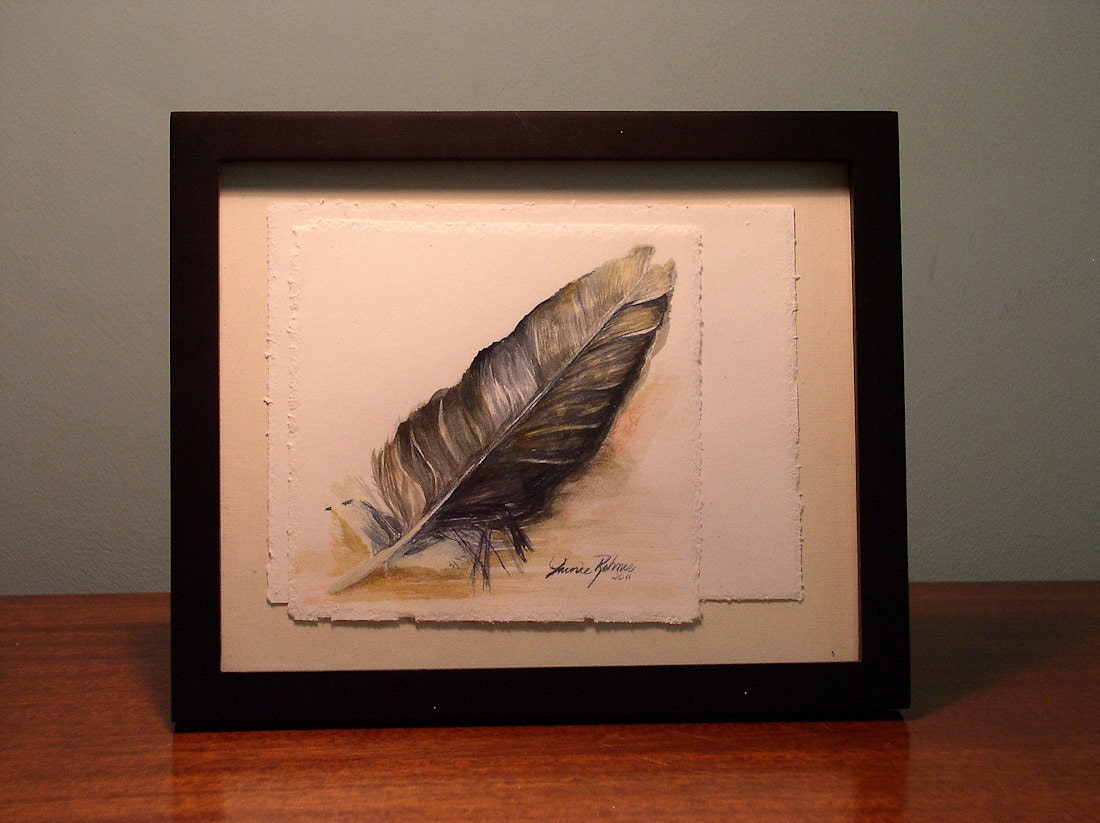 Feather No.1 Original Illustration Painting watercolor hand deckled edges