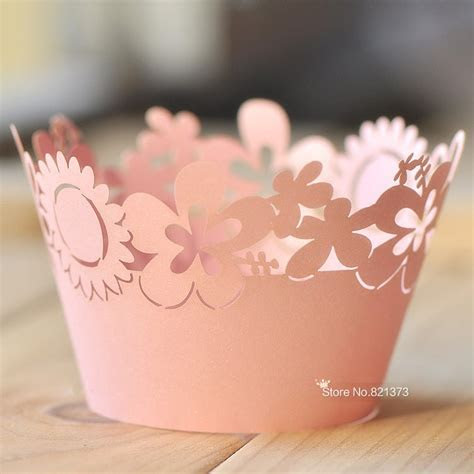Free Shipping pink sunflower laser cut cupcake wrappers