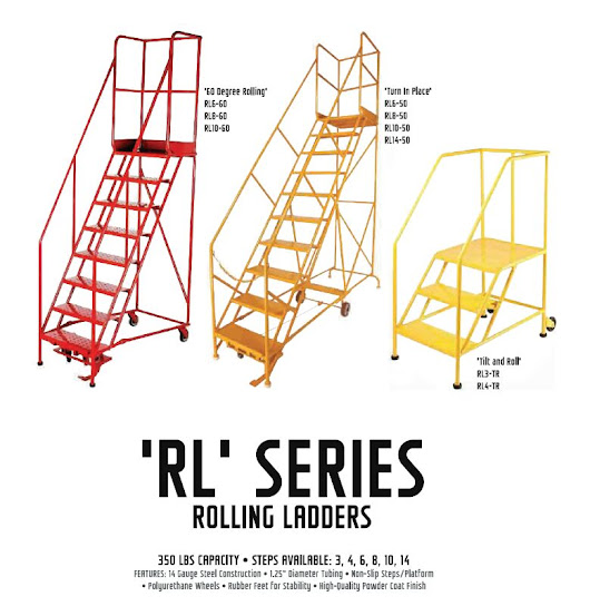 Rolling Ladder Highlights - MOBILE INDUSTRIES INC. :: Material Handling Tranport, Lift and Warehouse Equipment.