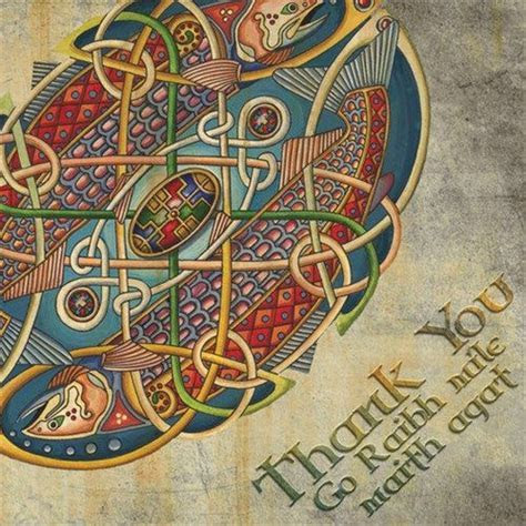 Celtic Salmon of Knowledge Irish Language Thank You Card