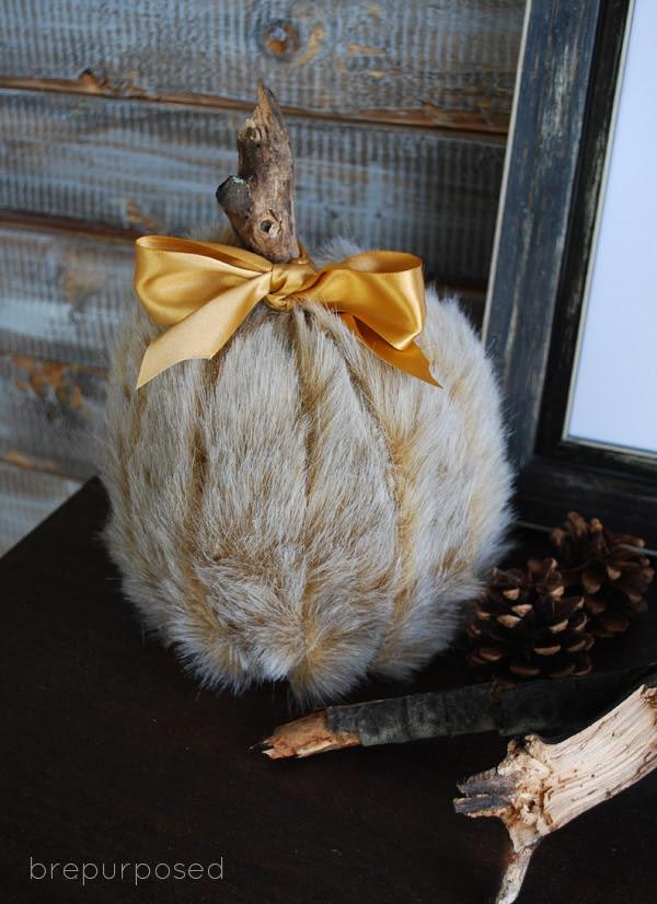 Fur Covered Pumpkin from Brepurposed  |  25 Creative DIY Pumpkins at www.andersonandgrant.com