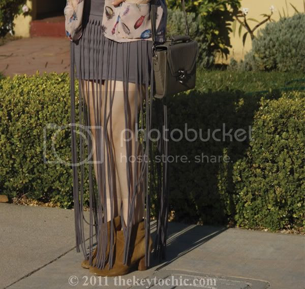 Foreign Exchange fringe skirt, feather cardigan, Aldo Qualheim boots, California fashion blog