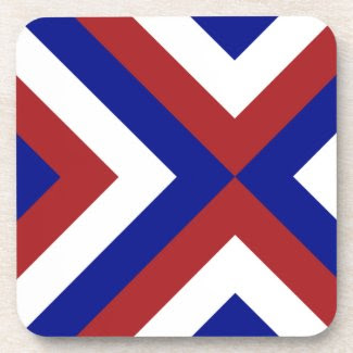 Red, White, and Blue Chevrons Drink Coaster