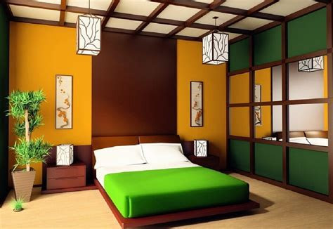 Colorful Japanese bedroom style with big mirror   Decolover.net