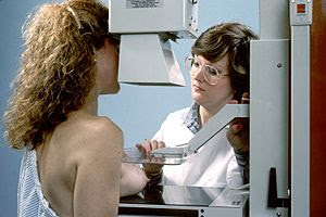 Woman undergoing a mammogram of the right breast