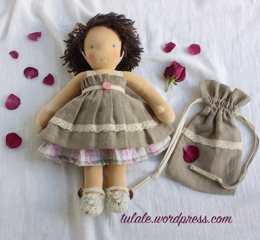 OOAK doll clothes Linen cotton set for doll 14  16 inch: