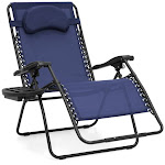 Best Choice Products Oversized Zero Gravity Chair with Cup Holder, Navy