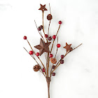 Factory Direct Craft Rusty Star and PIP Berry Spray, 12'' Long, Red/Burgundy, Primitive Decor