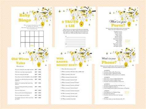 Bee Themed Baby Shower Games   Magical Printable