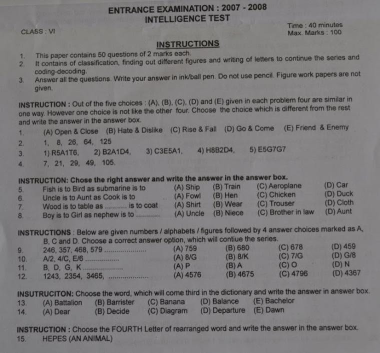 Model question papers of Sainik School entrance exam for ...