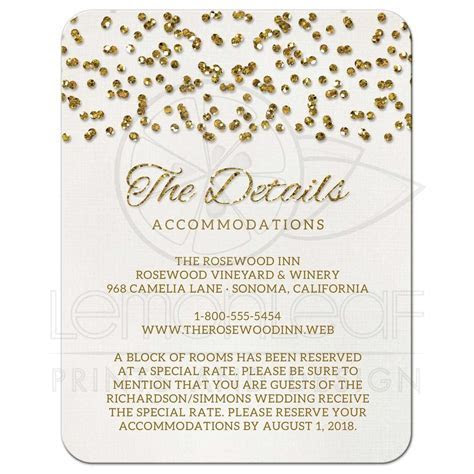 Wedding Enclosure Cards   Glamorous Glitter Look Confetti Dots