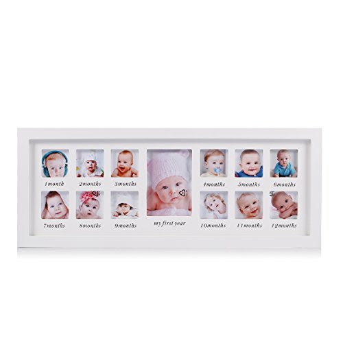Feibi My First Year Baby Photo Frame Baby Keepsake Frame Wood Kids