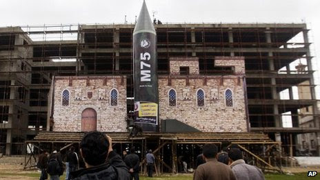 Replica of Hamas rocket on stage in Gaza City. 5 Dec 2012