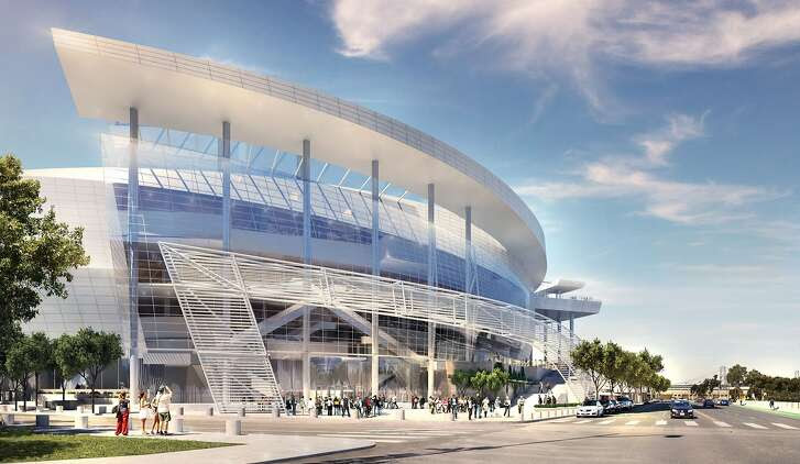 Rendering released on Dec. 10, 2014 showing the southeast entrance of the Golden State Warriors' proposed new arena in San Francisco's Mission Bay area. The arena would seat 18,000 people, have a view deck, and include a 24,000 square foot public plaza on the southeast side and a 35,000 square foot public plaza on the Third Street side. Completion is slated for the start of the 2018-19 NBA season. ProEXR File Description  =Attributes= cameraAperture (float): 36.000000 cameraFarClip (float): 1000.000000 cameraFarRange (float): 1000.000000 cameraFov (float): 69.363388 cameraNearClip (float): 0.000000 cameraNearRange (float): 0.000000 cameraProjection (int): 0 cameraTargetDistance (float): 200.000000 cameraTransform (m44f) channels (chlist) compression (compression): Zip16 dataWindow (box2i): [0, 0, 4999, 3237] displayWindow (box2i): [0, 0, 4999, 3237] gamma (float): 1.000000 lineOrder (lineOrder): Increasing Y pixelAspectRatio (float): 1.000000 screenWindowCenter (v2f): [0.000000, 0.000000] screenWindowWidth (float): 1.000000 tiles (tiledesc): [64, 64]  =Channels= A (half) B (half) G (half) R (half)