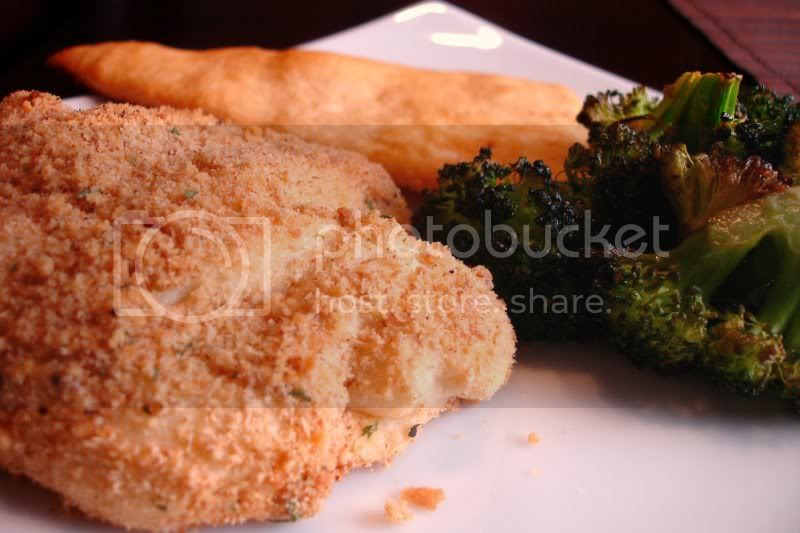 Chicken Pastry Bundles served with broccoli