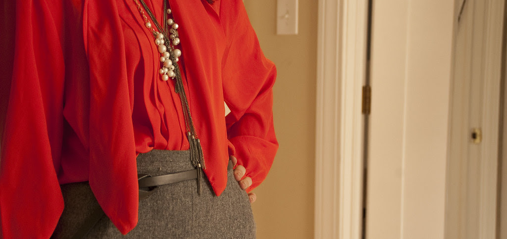 dashdotdotty, tie-neck, orange, thrifted, 80s, pleats, polyester, layered necklaces, gray wool pencil, boots, fall outfit