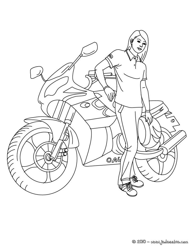 Fille  la moto  colorier Coloriage Coloriage VEHICULES Coloriage MOTOS Coloriage